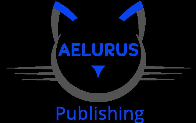 Aelurus Publishing logo, a cat with blue ears
